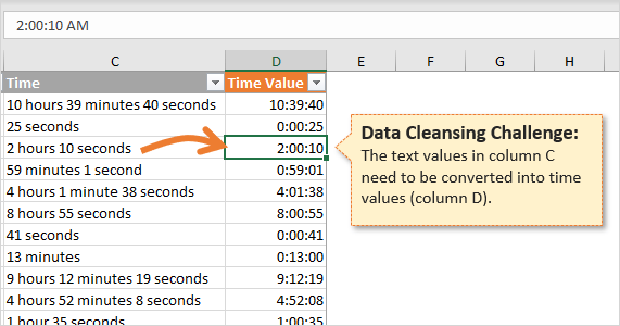 Convert Text Values to Time Values in Excel
