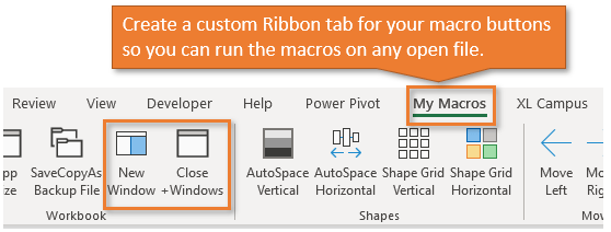 Custom Ribbon Tab with Macro Buttons in Excel for New Window Macro