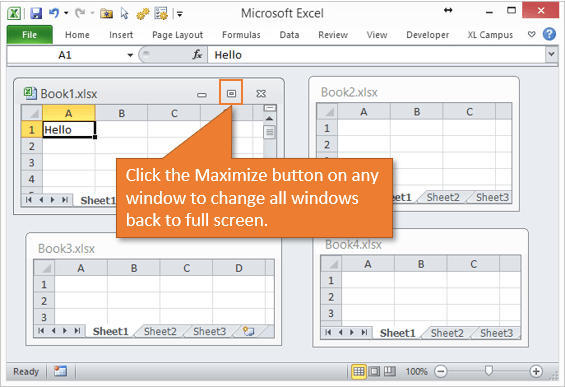 Excel 2010 2007 Maximize Button to View Window Full Screen