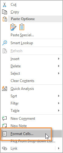 Format Cells Right Click Menu