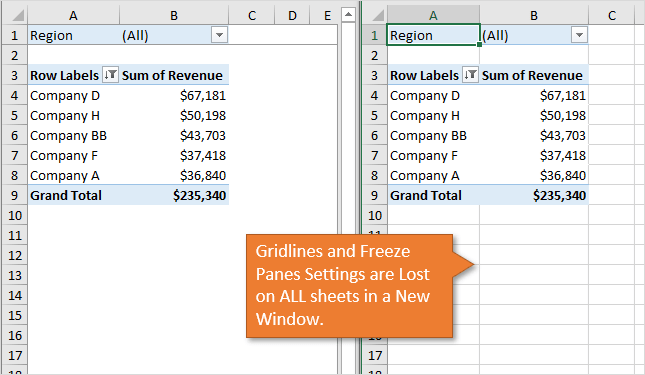 Gridlines and Freeze Panes Settings Lost in New Window