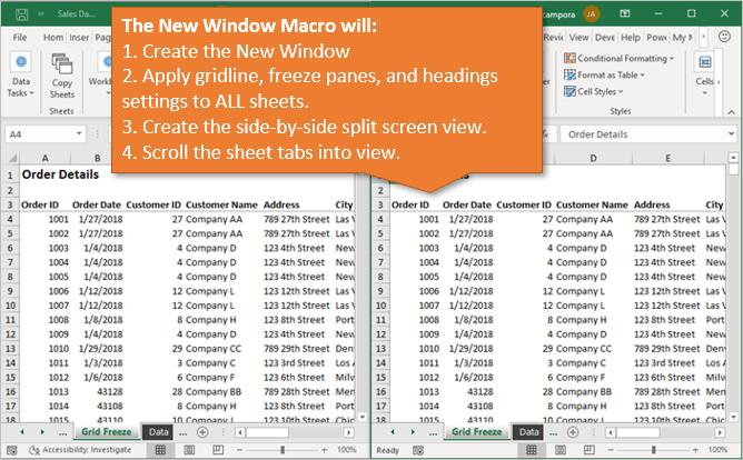 New Window Macro Steps to Preserve Window Settings Gridlines Freeze Panes