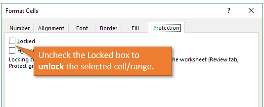 Uncheck the Locked Box to Unlock Cells or Range
