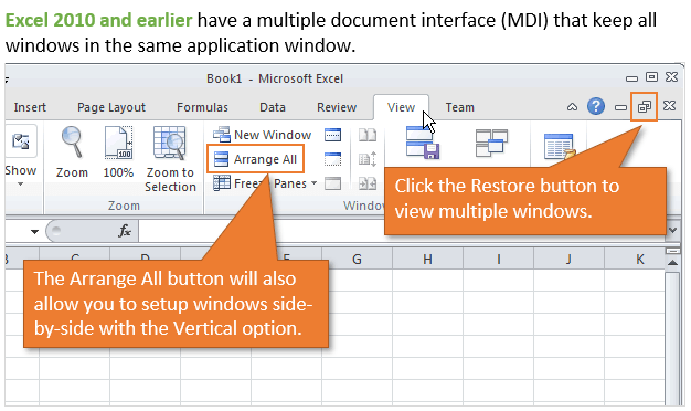 View Multiple Excel Files Windows Excel 2010 2007 Multiple Document Interface