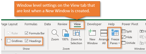 Window Level Settings on the View Tab - New Window