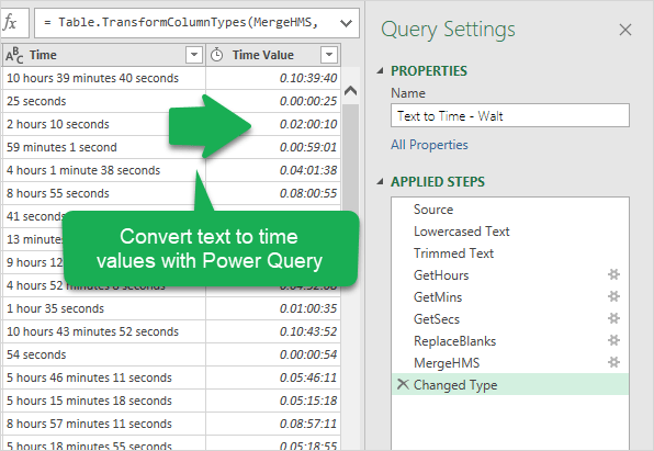 Convert text to time values with Power Query