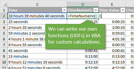 Text to Time with Custom Functions UDFs in VBA Excel