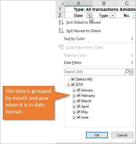 Filter drop-down date
