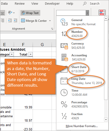 Number format drop-down date