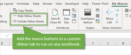 Add Hide Unhide Macro Buttons to Custom Ribbon Tab