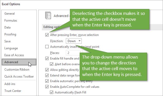 Advanced Options Enter Key Behavior