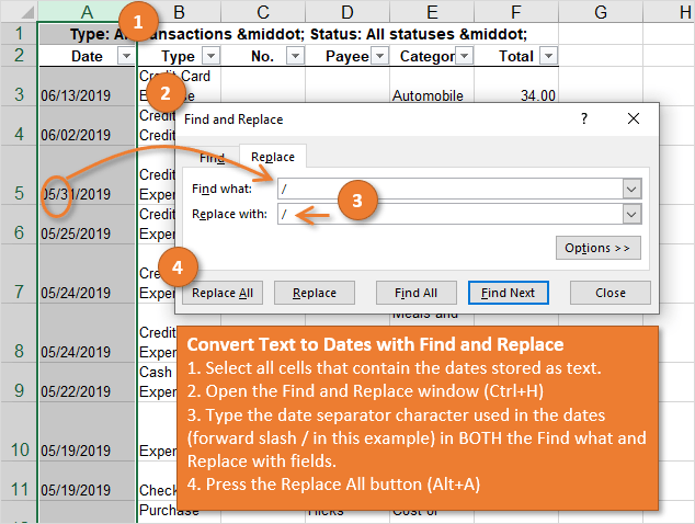 Convert Text to Dates with Find and Replace in Excel