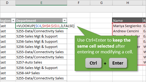 Ctrl Enter to Keep Same Cell Selected After Entering or Modifying Formula