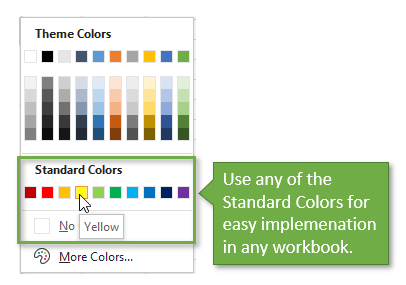 Excel Color Menu Standard Colors