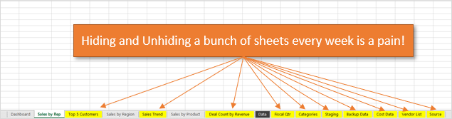 Hiding and Unhiding Multiple Sheets in Excel is a Pain