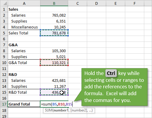 Hold Ctrl Key Selecting Multiple Cells for Formula References and Commas