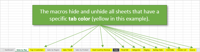 Macro to Hide and Unhide All Sheets with Same Tab Color