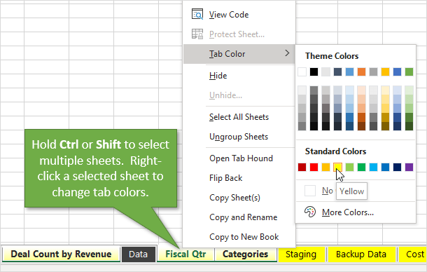 Select Multiple Sheets with Ctrl or Shift Then Change Tab Colors