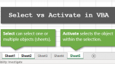 Select vs Activate in VBA for Excel