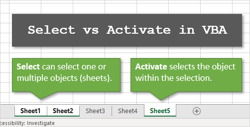 Difference Between Select and Activate Methods in VBA ...