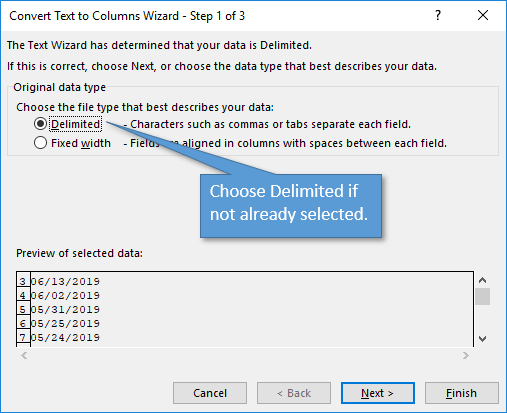 Step 1 of Text to Columns Wizard
