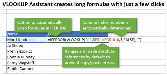 VLOOKUP Assistant - Create Formulas - Features