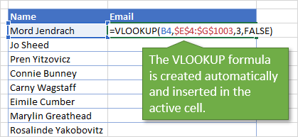 VLOOKUP Assistant - Create Formulas - Insert Formula in Active Cell