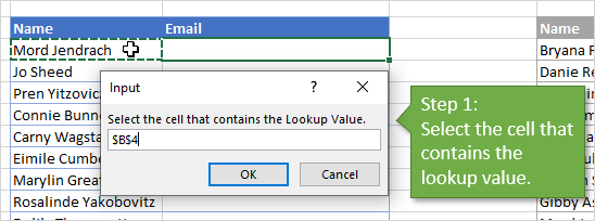 VLOOKUP Assistant - Create Formulas - Step 1 - Select Lookup Value