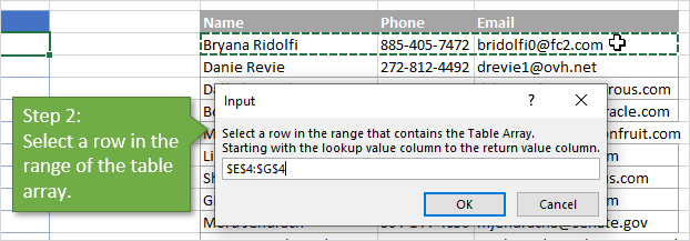 VLOOKUP Assistant - Create Formulas - Step 2 - Select Table Array