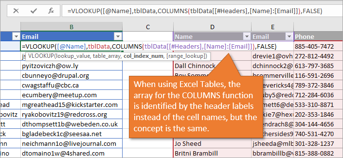 Using the Columns Function with Excel Tables