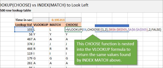 Vlookup Choose Function