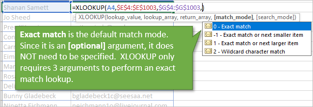 XLOOKUP Defaults to Exact Match Mode