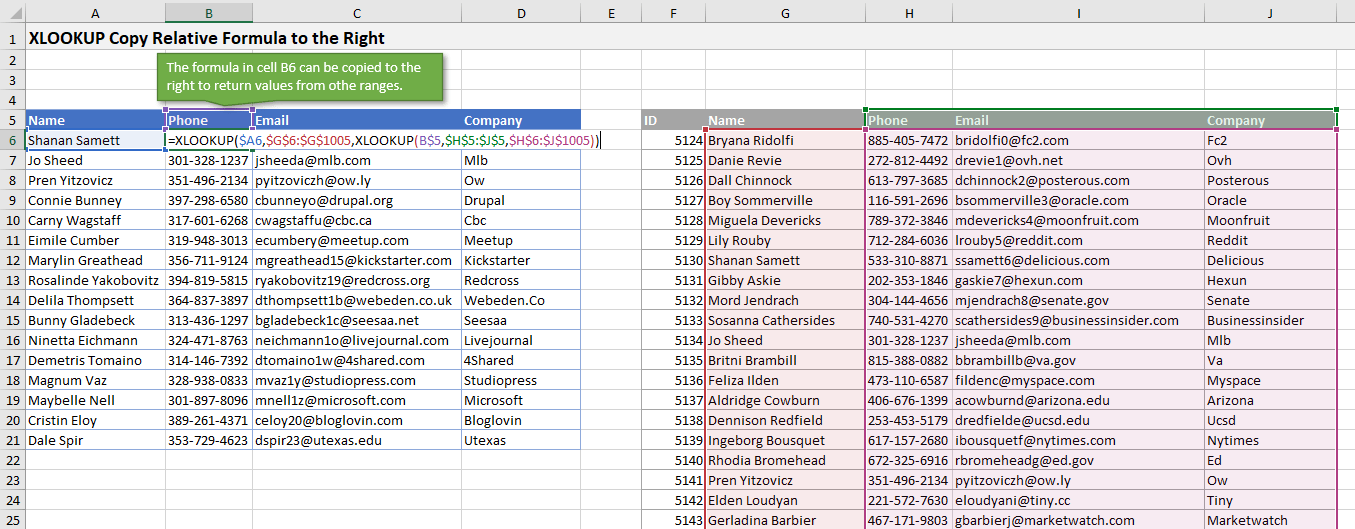 XLOOKUP Copy Formula to Right with Relative References