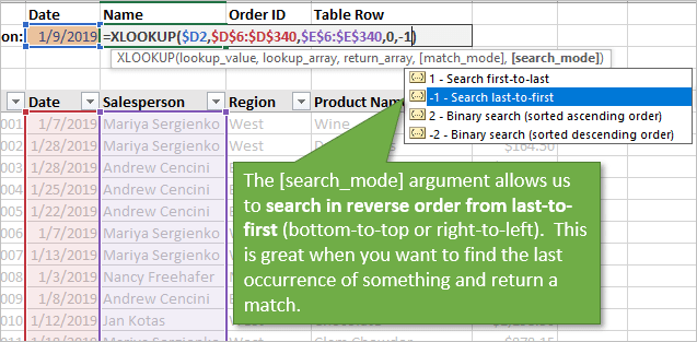 XLOOKUP Search in Reverse Order Last to First with Search_Mode Argument