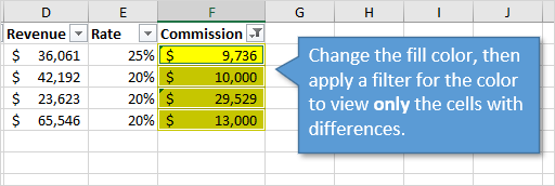 Apply Fill Color and Filter for Color to View Only Cells with Different Formulas Values