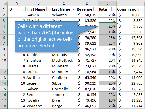 Cells with different values selected