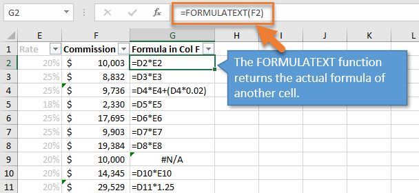 FORMULATEXT Function Returns Formula to a Cell in Excel