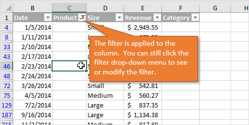 Filter Applied to Column After Filter By Selected Cells Value Right-click Menu