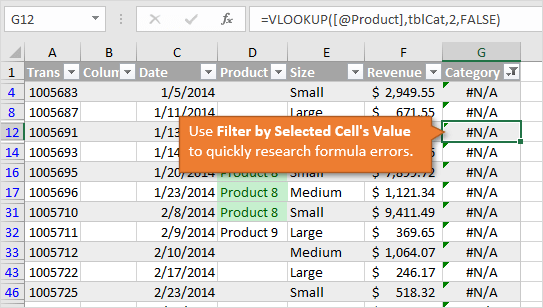Filter by Selected Cells Value for Formula Errors