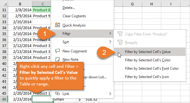 Filter by Selected Cells Value in Excel