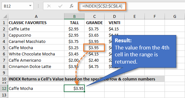 INDEX Formula Result in Excel