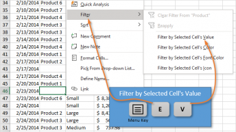 Keyboard Shortcut to Filter by Selected Cells Value