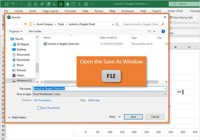 Keyboard Shortcut to Open Save As Window in Excel with F12