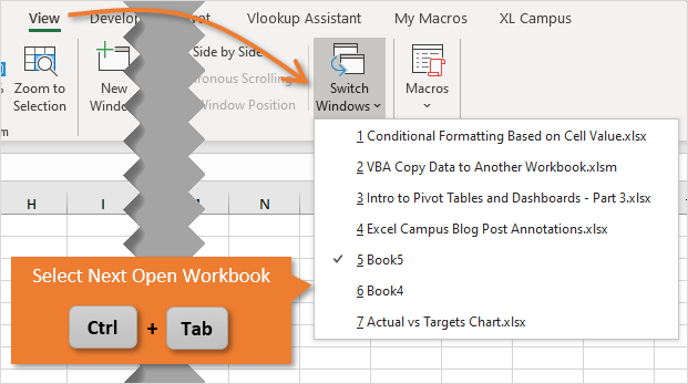 Keyboard Shortcut to Select Next Open Excel Workbook Ctrl Tab