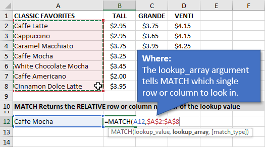 Lookup_Array Argument for the MATCH Function in Excel