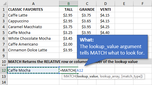 Lookup_Value Argument for MATCH Function in Excel