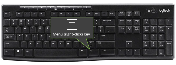 Menu Key - Right Click Key on Windows Keyboard - Logitech K270