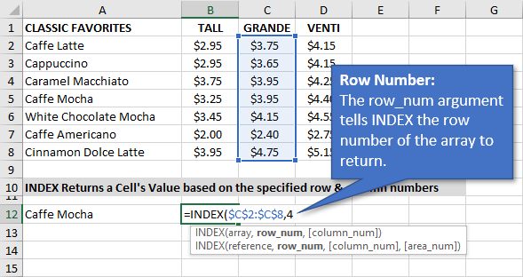 Row Num Argument for the INDEX Function in Excel