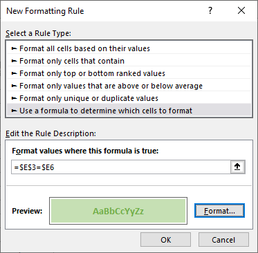 New Formatting Rule Window