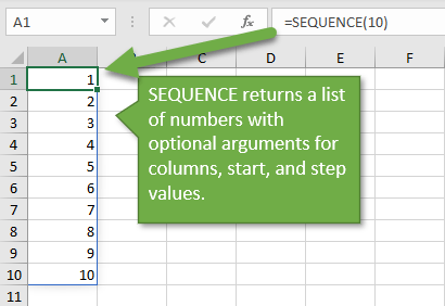 SEQUENCE Function to Return List of Numbers in Excel